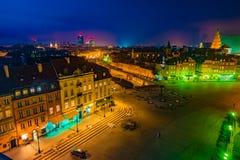 Πανόραμα νύχτας του βασιλικού Castle και της παλαιάς πόλης στη Βαρσοβία Στοκ φωτογραφίες με δικαίωμα ελεύθερης χρήσης