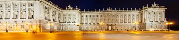 Πανόραμα νύχτας Palacio πραγματικό de Μαδρίτη Στοκ Εικόνα
