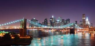 Πανόραμα οριζόντων του Μανχάτταν πόλεων της Νέας Υόρκης Στοκ φωτογραφία με δικαίωμα ελεύθερης χρήσης