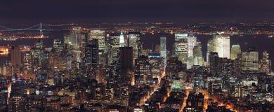 Πανόραμα οριζόντων του Μανχάτταν πόλεων της Νέας Υόρκης Στοκ εικόνες με δικαίωμα ελεύθερης χρήσης