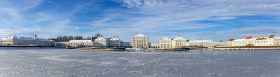 Πανόραμα παλατιών Nymphenburg, Μόναχο, Γερμανία στοκ φωτογραφίες