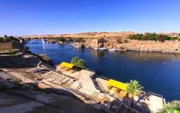 Πανόραμα ποταμών του Νείλου σε Aswan Αίγυπτος Στοκ Φωτογραφίες