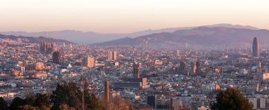 Πανόραμα πρωινού της Βαρκελώνης Καταλωνία, Ισπανία Στοκ Φωτογραφία