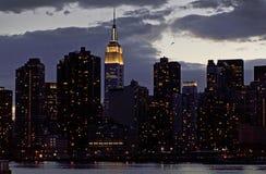 Πανόραμα πόλεων της Νέας Υόρκης με τον ορίζοντα του Μανχάταν πέρα από τον ποταμό του Hudson Στοκ εικόνα με δικαίωμα ελεύθερης χρήσης