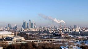 Πανόραμα πόλεων της χρονικής Μόσχας ημέρας απόθεμα βίντεο