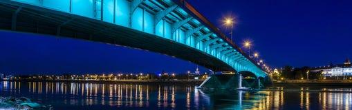 Πανόραμα πόλεων της Βαρσοβίας τη νύχτα Στοκ φωτογραφίες με δικαίωμα ελεύθερης χρήσης