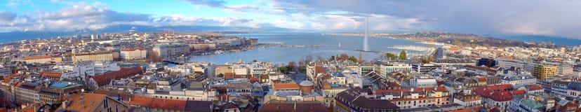 Πανόραμα πόλεων της Γενεύης, Ελβετία (HDR) Στοκ Εικόνες