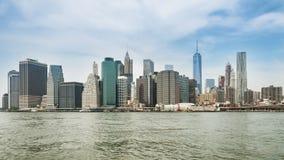 Πανόραμα πόλεων της Νέας Υόρκης με τον ορίζοντα του Μανχάταν Στοκ φωτογραφία με δικαίωμα ελεύθερης χρήσης