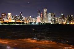 Πανόραμα Σικάγο τη νύχτα στοκ εικόνα με δικαίωμα ελεύθερης χρήσης