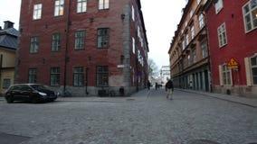 Πανόραμα στην οδό στη Στοκχόλμη απόθεμα βίντεο