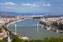 Πανόραμα της Βουδαπέστης, άποψη άνωθεν Στοκ Εικόνα