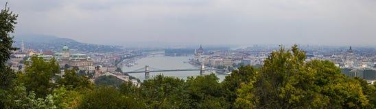 Πανόραμα της Βουδαπέστης από το Hill Gellert Στοκ Φωτογραφία