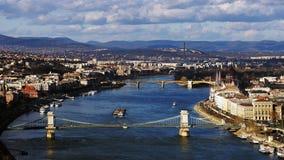 Πανόραμα της Βουδαπέστης στην ηλιόλουστη ημέρα, Ουγγαρία Στοκ Φωτογραφία