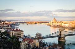 Πανόραμα της Βουδαπέστης στο ηλιοβασίλεμα Στοκ φωτογραφία με δικαίωμα ελεύθερης χρήσης