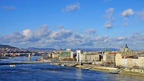 Πανόραμα της Βουδαπέστης στο υπόβαθρο ουρανού, Ουγγαρία Στοκ εικόνες με δικαίωμα ελεύθερης χρήσης