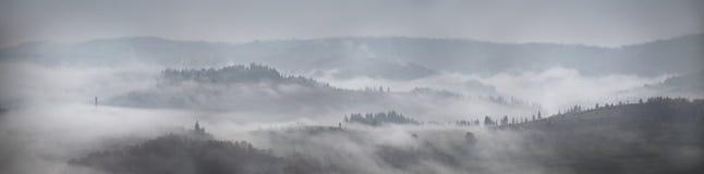 Πανόραμα της βροχής και της ομίχλης φθινοπώρου στους λόφους βουνών Στοκ Εικόνες