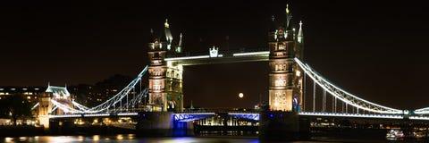 Πανόραμα της γέφυρας πύργων τη νύχτα Στοκ φωτογραφία με δικαίωμα ελεύθερης χρήσης
