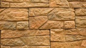 Πανόραμα της διακοσμητικής πέτρας Κίνηση επάνω ο γρανίτης στο σπίτι τοίχος πετρών απόθεμα βίντεο