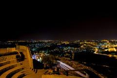 Πανόραμα της Ιερουσαλήμ τη νύχτα, υποστήριγμα των ελιών, Μέση Ανατολή Στοκ εικόνες με δικαίωμα ελεύθερης χρήσης