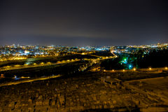 Πανόραμα της Ιερουσαλήμ τη νύχτα, υποστήριγμα των ελιών, Μέση Ανατολή Στοκ Φωτογραφία