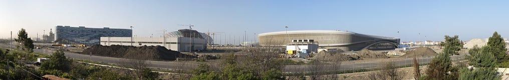 Πανόραμα της κατασκευής του ολυμπιακού πάρκου στο Sochi. στοκ εικόνες