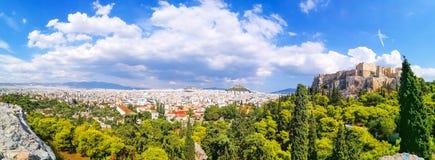 Πανόραμα της κατασκευής Parthenon στο Hill ακρόπολη, Αθήνα, στοκ φωτογραφία με δικαίωμα ελεύθερης χρήσης