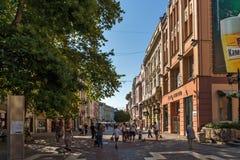 Πανόραμα της κεντρικής οδού Knyaz Αλέξανδρος Ι στην πόλη Plovdiv, Βουλγαρία Στοκ εικόνες με δικαίωμα ελεύθερης χρήσης