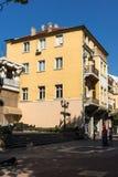 Πανόραμα της κεντρικής οδού Knyaz Αλέξανδρος Ι στην πόλη Plovdiv, Βουλγαρία Στοκ εικόνα με δικαίωμα ελεύθερης χρήσης