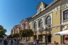 Πανόραμα της κεντρικής οδού Knyaz Αλέξανδρος Ι στην πόλη Plovdiv, Βουλγαρία Στοκ φωτογραφίες με δικαίωμα ελεύθερης χρήσης