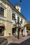 Πανόραμα της κεντρικής οδού Knyaz Αλέξανδρος Ι στην πόλη Plovdiv, Βουλγαρία Στοκ Εικόνες