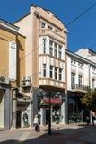Πανόραμα της κεντρικής οδού Knyaz Αλέξανδρος Ι στην πόλη Plovdiv, Βουλγαρία Στοκ Εικόνα