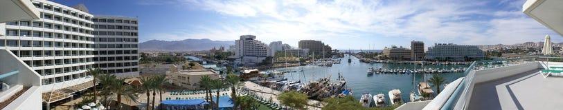 Πανόραμα της μαρίνας και των ξενοδοχείων σε Eilat στοκ εικόνες