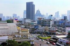 Πανόραμα της Μπανγκόκ και κεντρικός σταθμός ραγών, Ταϊλάνδη Στοκ Φωτογραφία