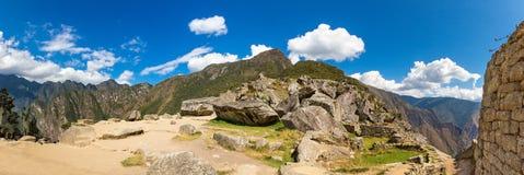 Πανόραμα της μυστήριας πόλης - Machu Picchu, Περού, Νότια Αμερική Οι καταστροφές Incan Στοκ Φωτογραφία