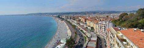 Πανόραμα της Νίκαιας των παραλιών & Promenade Des Anglais, Γαλλία Στοκ Εικόνες