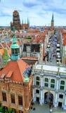 Πανόραμα της παλαιάς πόλης του Γντανσκ, Πολωνία στοκ εικόνα με δικαίωμα ελεύθερης χρήσης