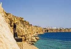 Πανόραμα της παραλίας στο σκόπελο Sheikh Sharm EL, Αίγυπτος Στοκ Εικόνα