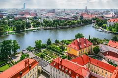 Πανόραμα της παλαιάς πόλης σε Wroclaw Στοκ Φωτογραφίες