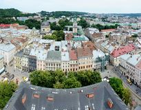 Πανόραμα της παλαιάς πόλης Lvov με το τετράγωνο αγοράς, Ουκρανία Στοκ Εικόνες
