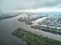 Πανόραμα της περιοχής κοιτών πλημμυρών Nagatinsky κατά την εναέρια άποψη της Μόσχας στοκ εικόνα με δικαίωμα ελεύθερης χρήσης