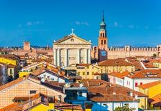 Πανόραμα της περιτοιχισμένης πόλης Cittadella Εικονική παράσταση πόλης της μεσαιωνικής ιταλικής πόλης Στοκ φωτογραφία με δικαίωμα ελεύθερης χρήσης