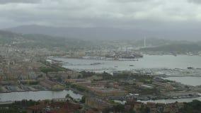 Πανόραμα της πόλης Λα Spezia και του θαλάσσιου λιμένα με τα σκάφη, εικονική παράσταση πόλης, Cinque Terre φιλμ μικρού μήκους