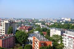 Πανόραμα της πόλης του Lublin στο σύνολο της Πολωνίας των φραγμών και των πράσινων δέντρων στοκ εικόνες με δικαίωμα ελεύθερης χρήσης