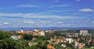 Πανόραμα της πόλης Zatec cesky τσεχική πόλης όψη δημοκρατιών krumlov μεσαιωνική παλαιά στοκ εικόνα με δικαίωμα ελεύθερης χρήσης