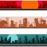 Πανόραμα της πόλης κινούμενων σχεδίων, σύνολο Στοκ Εικόνες