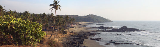 Παραλία Vagator, Goa, Ινδία πανοράματος Στοκ Φωτογραφία
