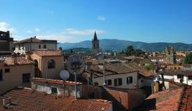 Πανόραμα της όμορφης πόλης του Αρέζο στην Τοσκάνη - την Ιταλία Στοκ Εικόνες