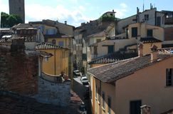 Πανόραμα της όμορφης πόλης του Αρέζο στην Τοσκάνη - την Ιταλία Στοκ Φωτογραφία