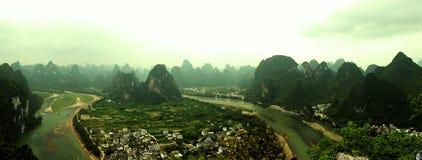 Πανόραμα τοπίων βουνών της Κίνας Στοκ Φωτογραφία