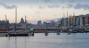 Πανόραμα του Άμστερνταμ Λιμάνι στο ηλιοβασίλεμα Στοκ εικόνες με δικαίωμα ελεύθερης χρήσης